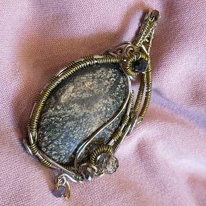 🇨🇦 Wire Wrapped Jasper Stone Pendant